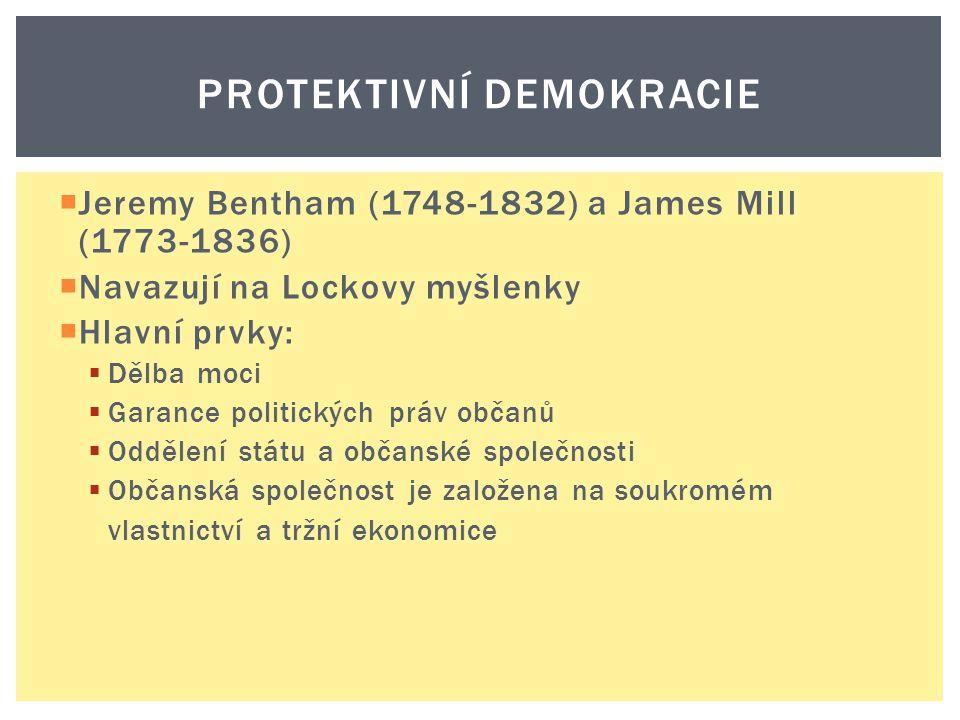  Jeremy Bentham (1748-1832) a James Mill (1773-1836)  Navazují na Lockovy myšlenky  Hlavní prvky:  Dělba moci  Garance politických práv občanů 