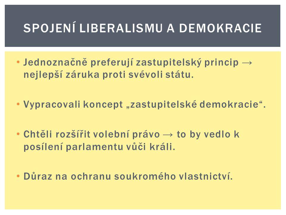"""Jednoznačně preferují zastupitelský princip → nejlepší záruka proti svévoli státu. Vypracovali koncept """"zastupitelské demokracie"""". Chtěli rozšířit vol"""