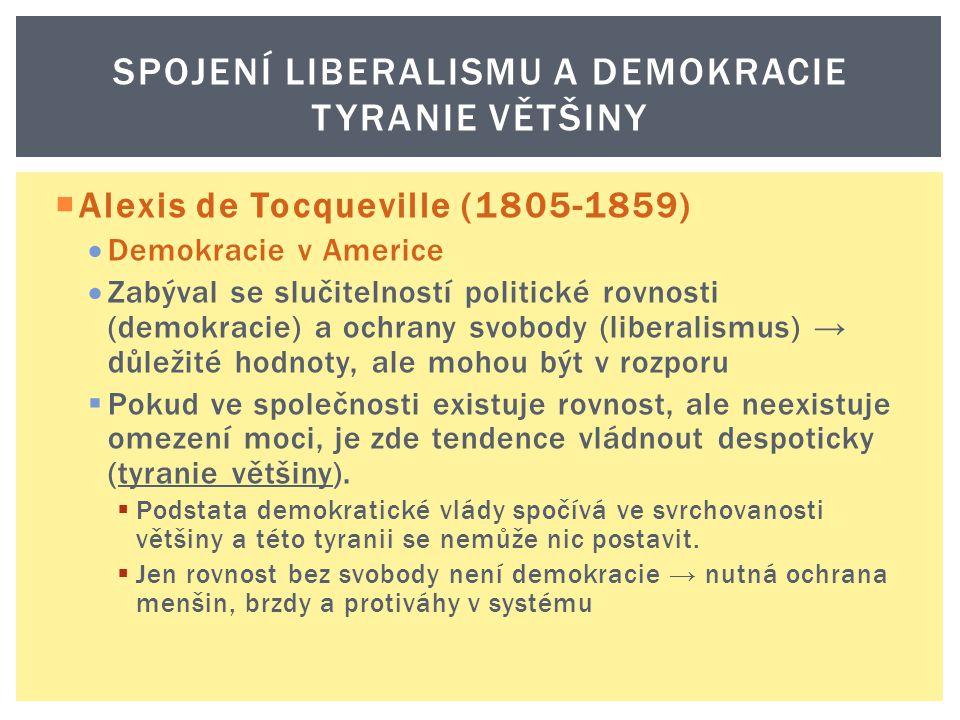  Alexis de Tocqueville (1805-1859)  Demokracie v Americe  Zabýval se slučitelností politické rovnosti (demokracie) a ochrany svobody (liberalismus)