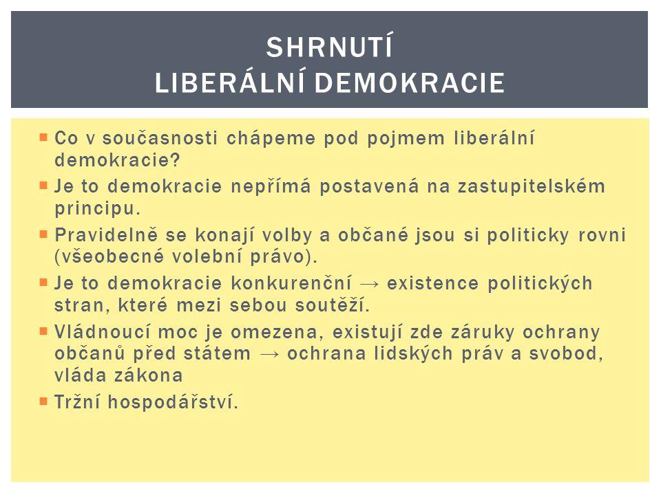  Co v současnosti chápeme pod pojmem liberální demokracie?  Je to demokracie nepřímá postavená na zastupitelském principu.  Pravidelně se konají vo