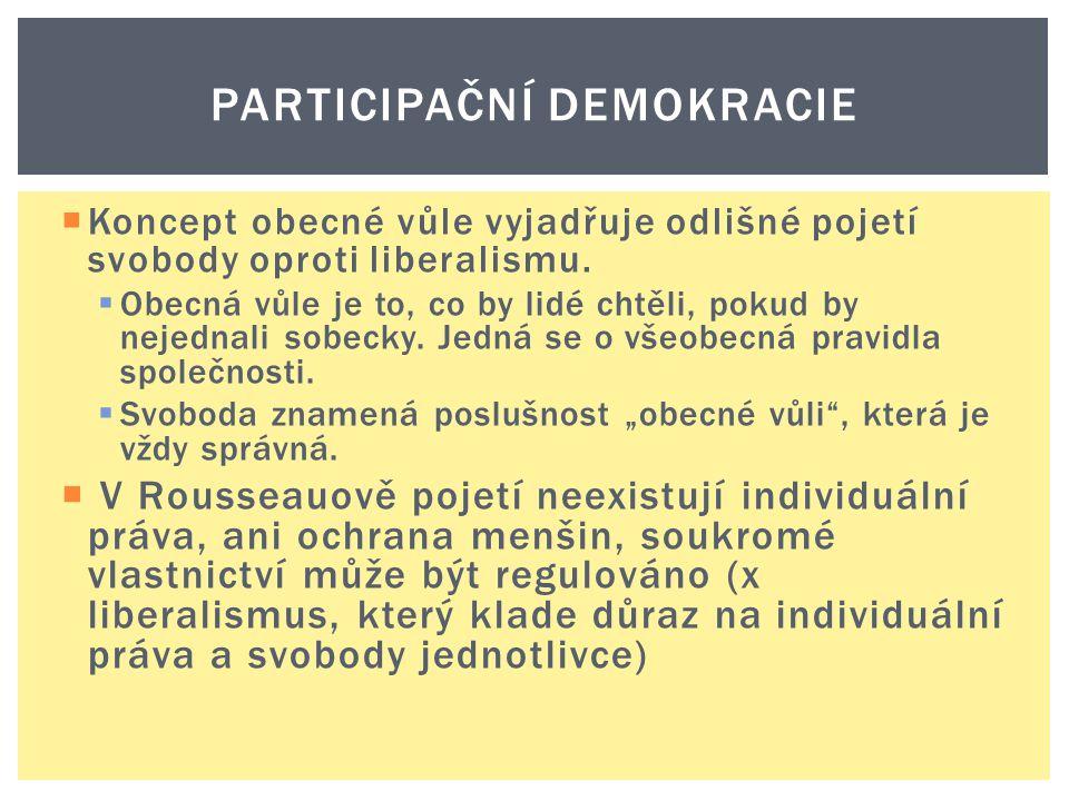  Koncept obecné vůle vyjadřuje odlišné pojetí svobody oproti liberalismu.  Obecná vůle je to, co by lidé chtěli, pokud by nejednali sobecky. Jedná s