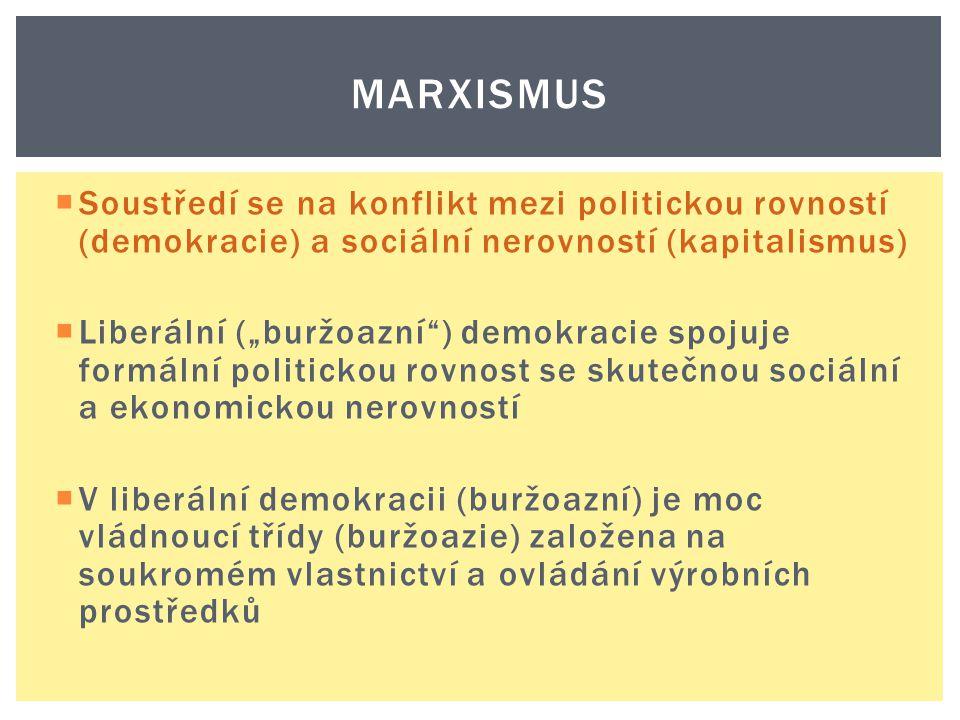 """MARXISMUS  Soustředí se na konflikt mezi politickou rovností (demokracie) a sociální nerovností (kapitalismus)  Liberální (""""buržoazní"""") demokracie s"""
