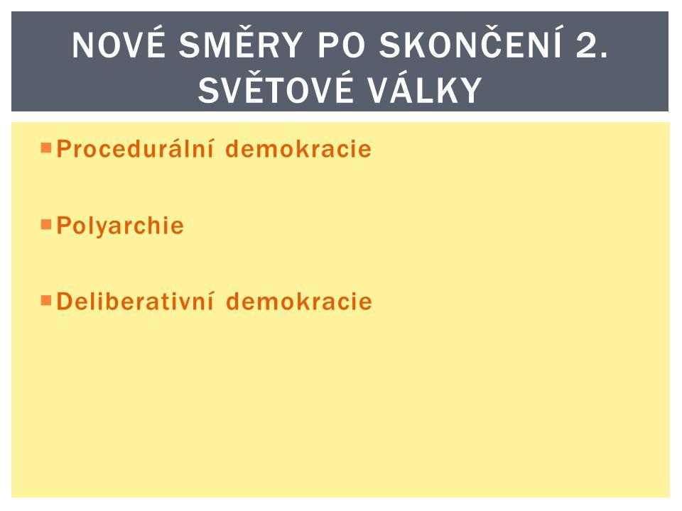 NOVÉ SMĚRY PO SKONČENÍ 2. SVĚTOVÉ VÁLKY  Procedurální demokracie  Polyarchie  Deliberativní demokracie