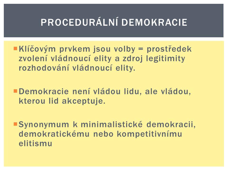  Klíčovým prvkem jsou volby = prostředek zvolení vládnoucí elity a zdroj legitimity rozhodování vládnoucí elity.  Demokracie není vládou lidu, ale v