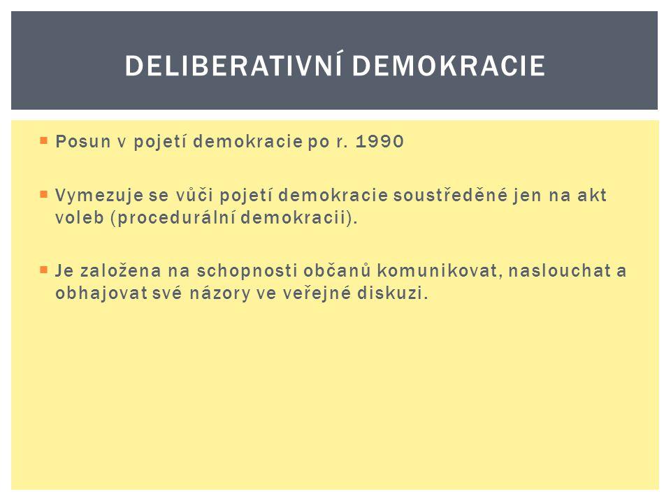  Posun v pojetí demokracie po r. 1990  Vymezuje se vůči pojetí demokracie soustředěné jen na akt voleb (procedurální demokracii).  Je založena na s