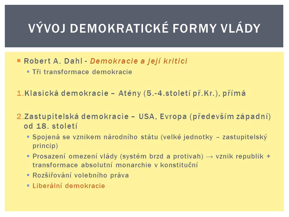  Robert A. Dahl - Demokracie a její kritici  Tři transformace demokracie 1.Klasická demokracie – Atény (5.-4.století př.Kr.), přímá 2.Zastupitelská