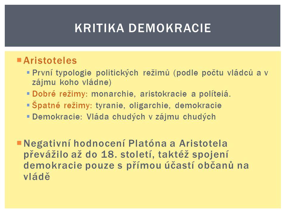 KRITIKA DEMOKRACIE  Aristoteles  První typologie politických režimů (podle počtu vládců a v zájmu koho vládne)  Dobré režimy: monarchie, aristokrac