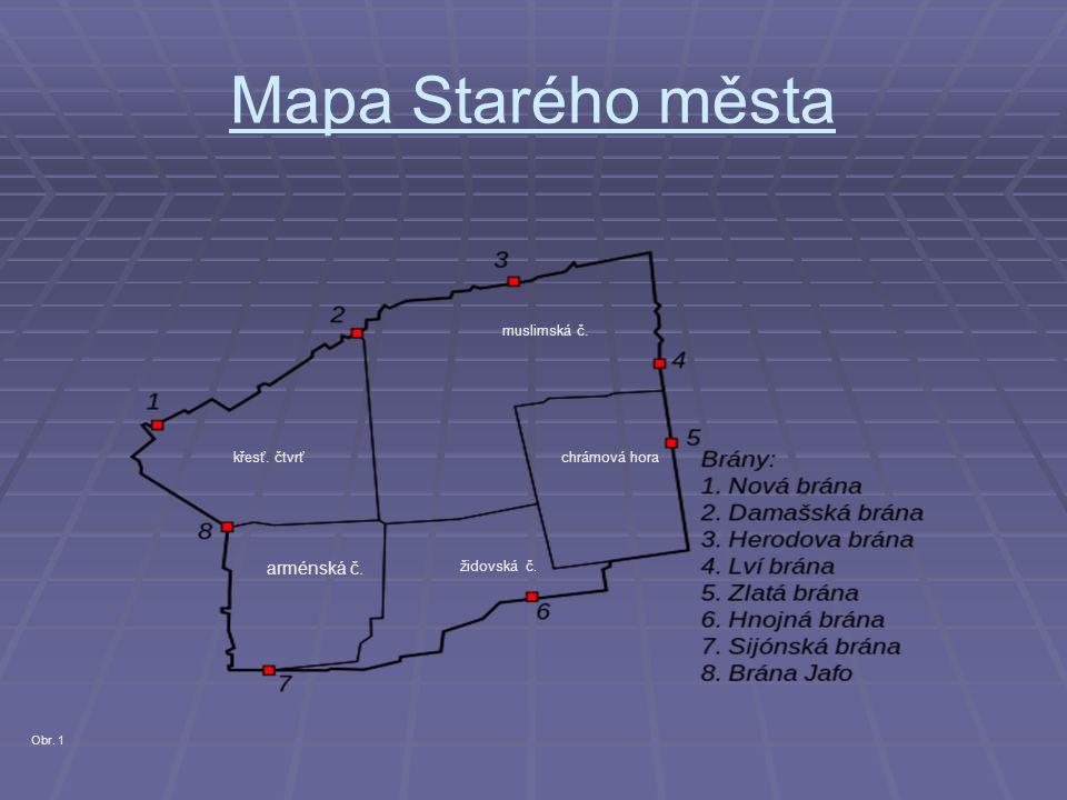 Mapa Starého města muslimská č. křesť. čtvrť arménská č. židovská č. chrámová hora Obr. 1