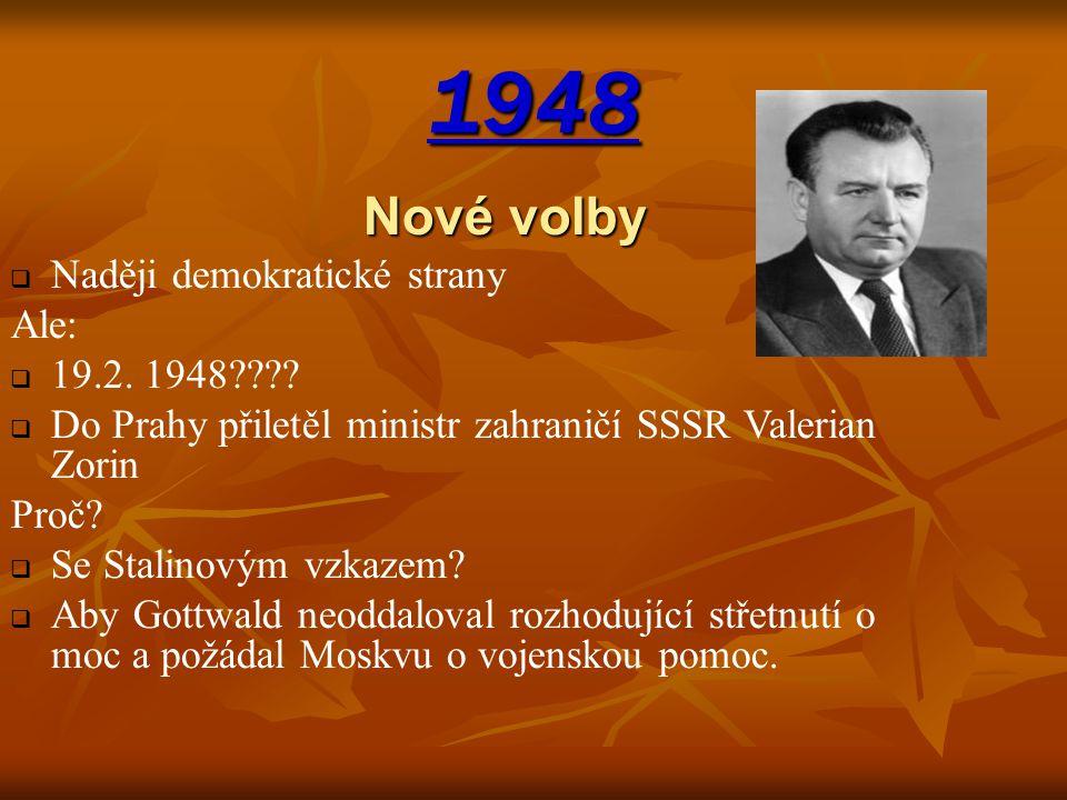 1948 Nové volby NNaději demokratické strany Ale: 119.2. 1948???? DDo Prahy přiletěl ministr zahraničí SSSR Valerian Zorin Proč? SSe Stalinovým