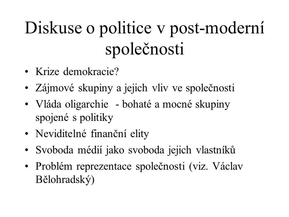 Diskuse o politice v post-moderní společnosti Krize demokracie? Zájmové skupiny a jejich vliv ve společnosti Vláda oligarchie - bohaté a mocné skupiny