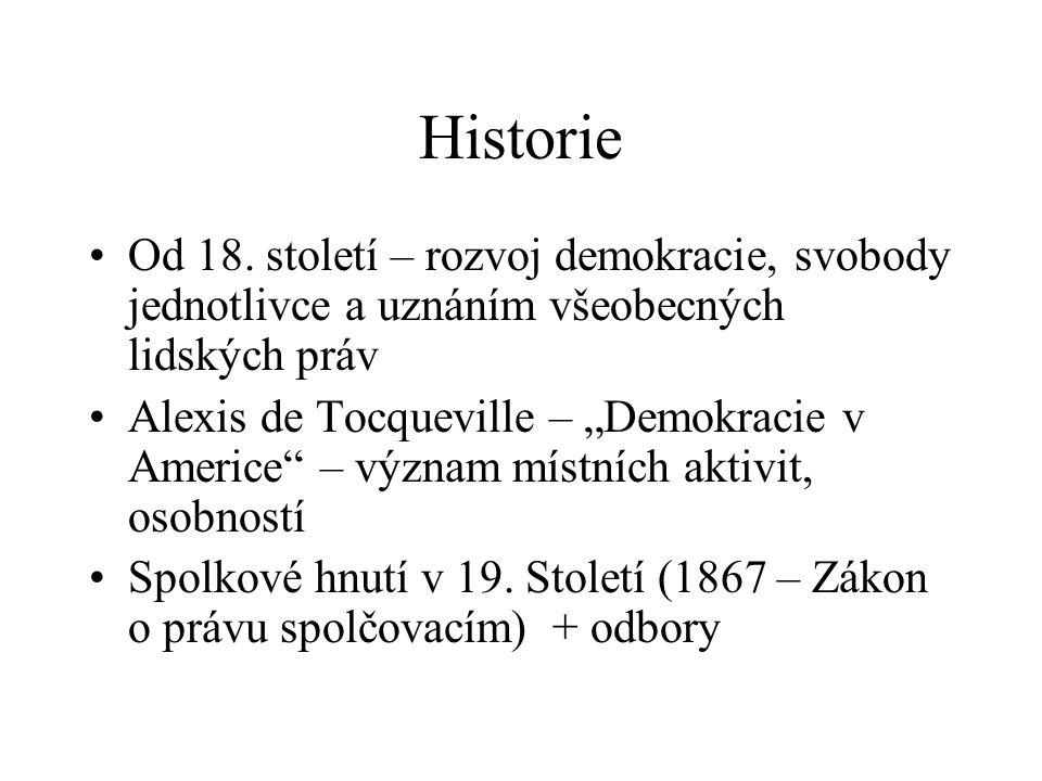 "Historie Od 18. století – rozvoj demokracie, svobody jednotlivce a uznáním všeobecných lidských práv Alexis de Tocqueville – ""Demokracie v Americe"" –"