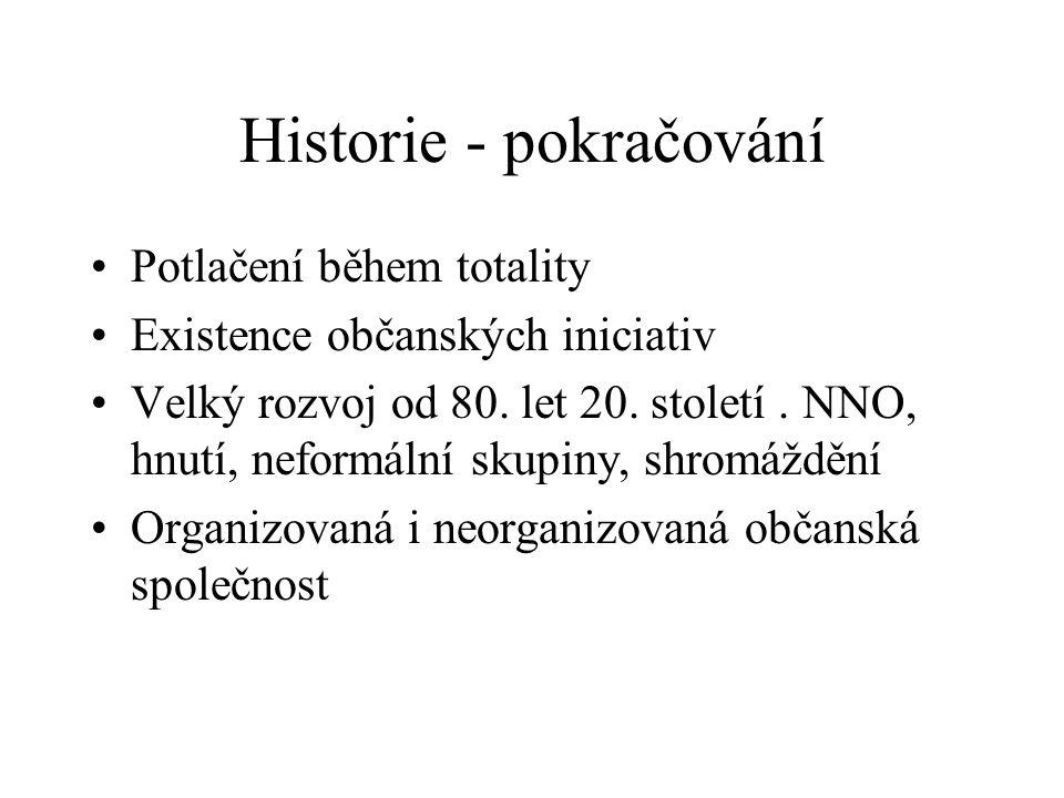 Historie - pokračování Potlačení během totality Existence občanských iniciativ Velký rozvoj od 80. let 20. století. NNO, hnutí, neformální skupiny, sh