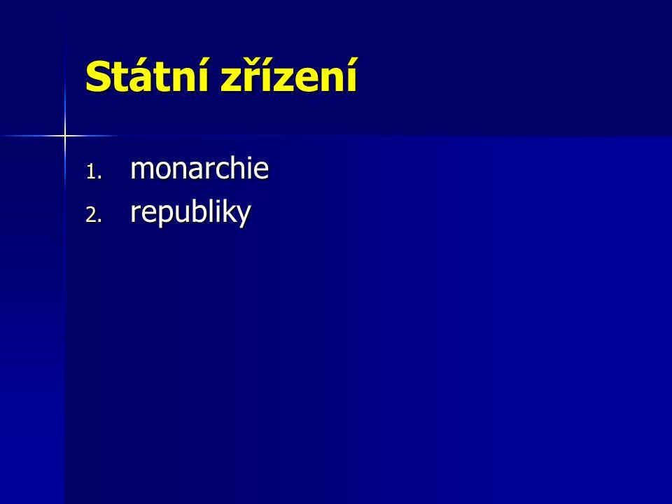 Státní zřízení 1. monarchie 2. republiky