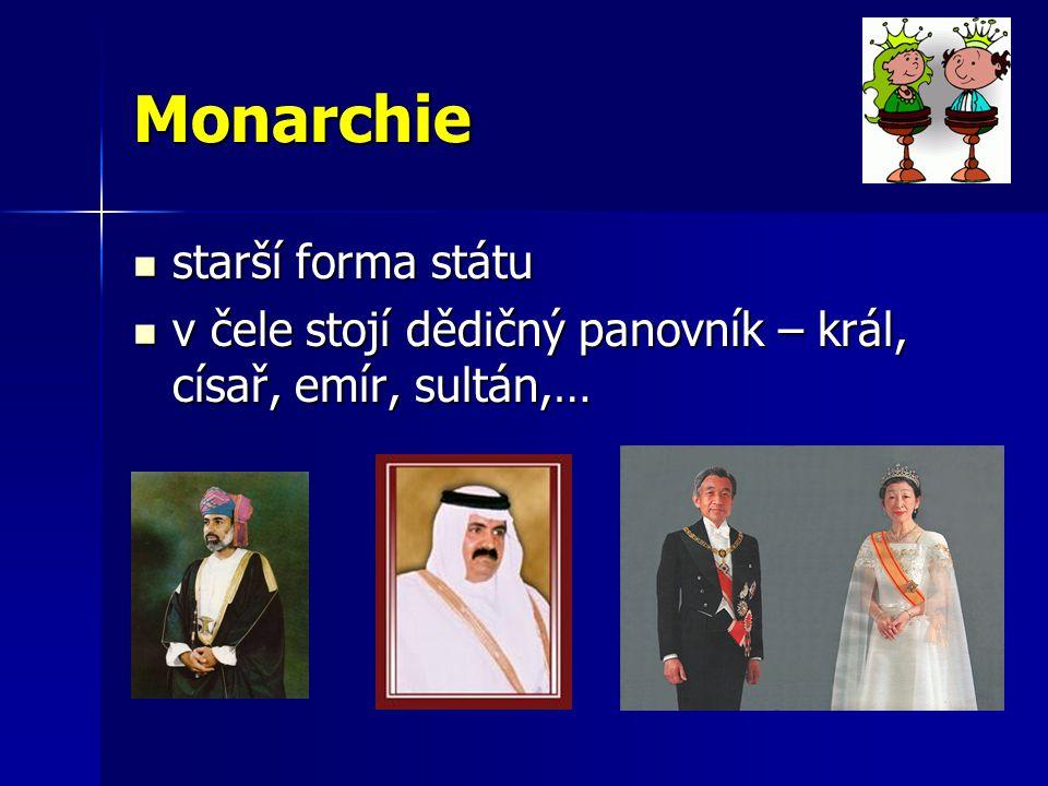 Monarchie konstituční (ústavní) konstituční (ústavní) –moc panovníka omezena ústavou –panovníci pouze symbolem státu –všechny evropské monarchie absolutní absolutní –neomezené pravomoci –Saudská Arábie, Brunej