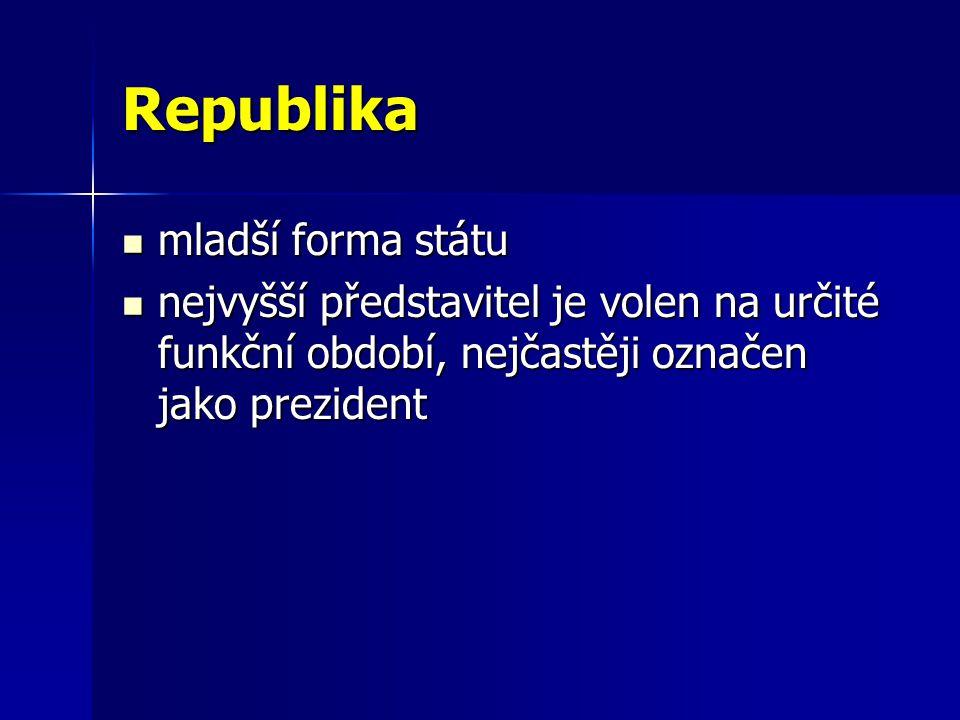 Republika mladší forma státu mladší forma státu nejvyšší představitel je volen na určité funkční období, nejčastěji označen jako prezident nejvyšší představitel je volen na určité funkční období, nejčastěji označen jako prezident