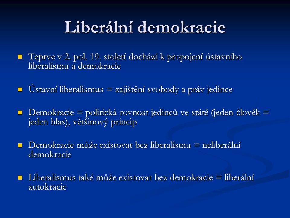 Liberální demokracie Teprve v 2. pol. 19. století dochází k propojení ústavního liberalismu a demokracie Teprve v 2. pol. 19. století dochází k propoj