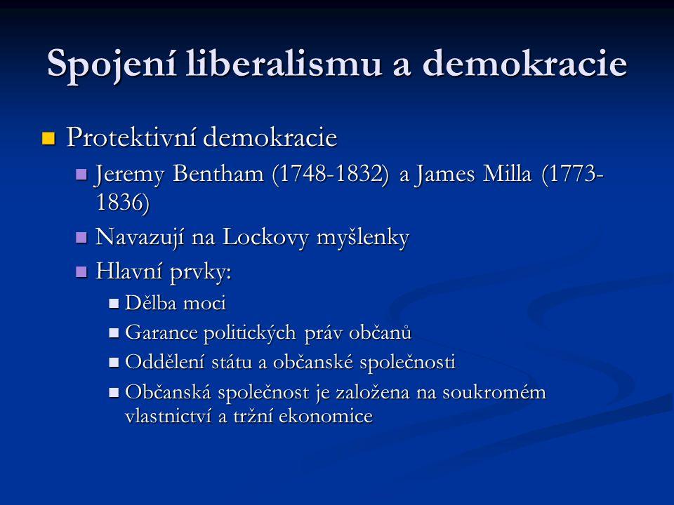 Spojení liberalismu a demokracie Protektivní demokracie Protektivní demokracie Jeremy Bentham (1748-1832) a James Milla (1773- 1836) Jeremy Bentham (1