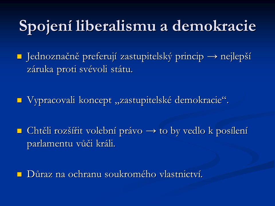 Spojení liberalismu a demokracie Jednoznačně preferují zastupitelský princip → nejlepší záruka proti svévoli státu. Jednoznačně preferují zastupitelsk
