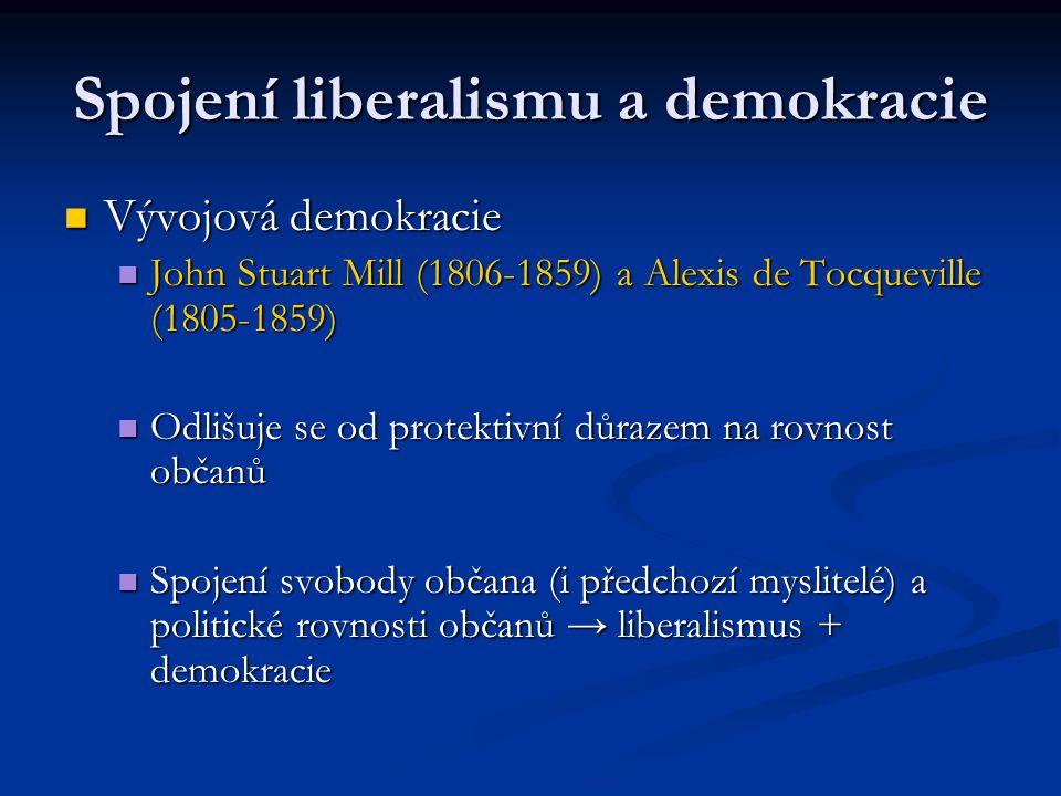 Spojení liberalismu a demokracie Vývojová demokracie Vývojová demokracie John Stuart Mill (1806-1859) a Alexis de Tocqueville (1805-1859) John Stuart