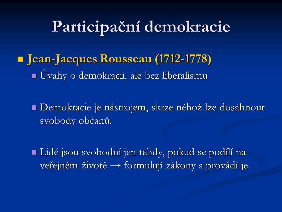 Participační demokracie Jean-Jacques Rousseau (1712-1778) Jean-Jacques Rousseau (1712-1778) Úvahy o demokracii, ale bez liberalismu Úvahy o demokracii