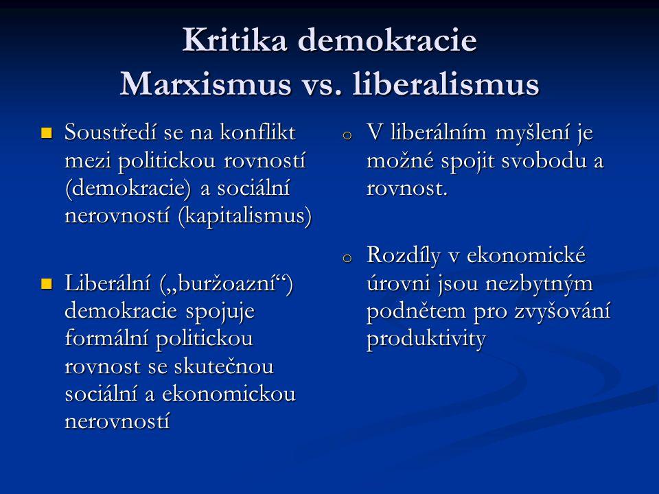 Kritika demokracie Marxismus vs. liberalismus Soustředí se na konflikt mezi politickou rovností (demokracie) a sociální nerovností (kapitalismus) Sous