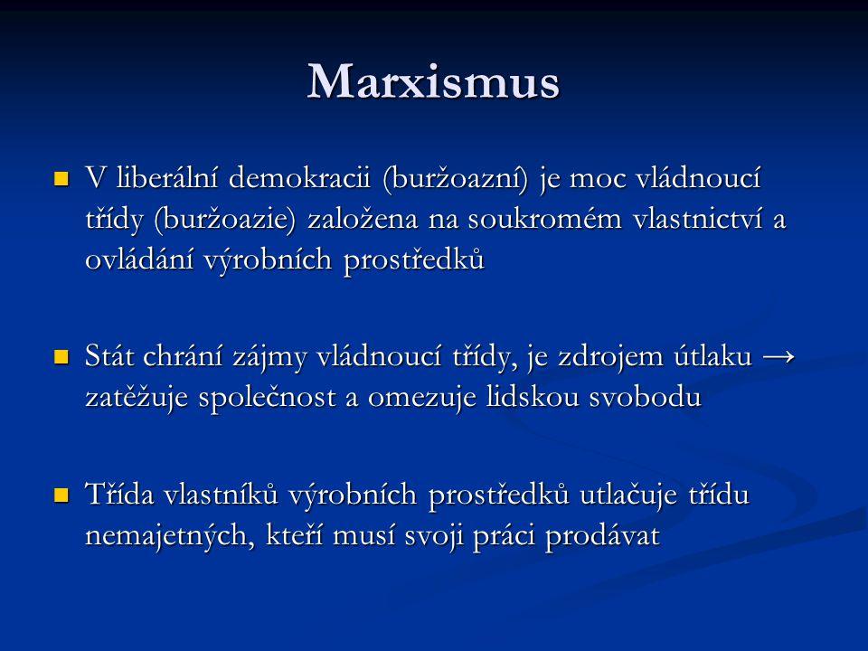Marxismus V liberální demokracii (buržoazní) je moc vládnoucí třídy (buržoazie) založena na soukromém vlastnictví a ovládání výrobních prostředků V li