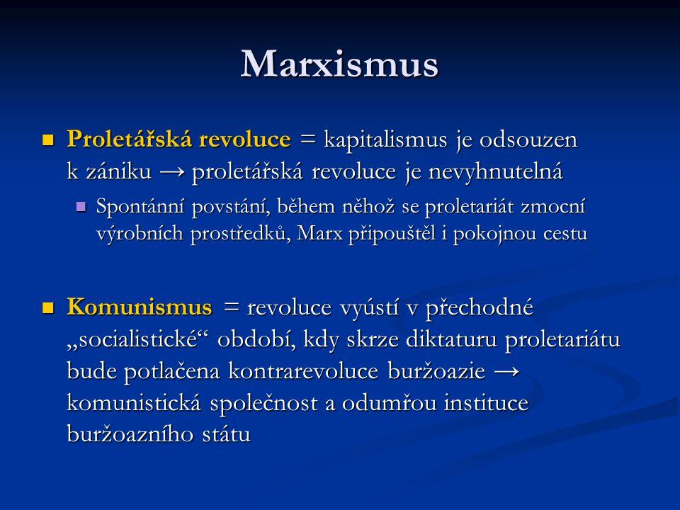 Marxismus Proletářská revoluce = kapitalismus je odsouzen k zániku → proletářská revoluce je nevyhnutelná Proletářská revoluce = kapitalismus je odsou