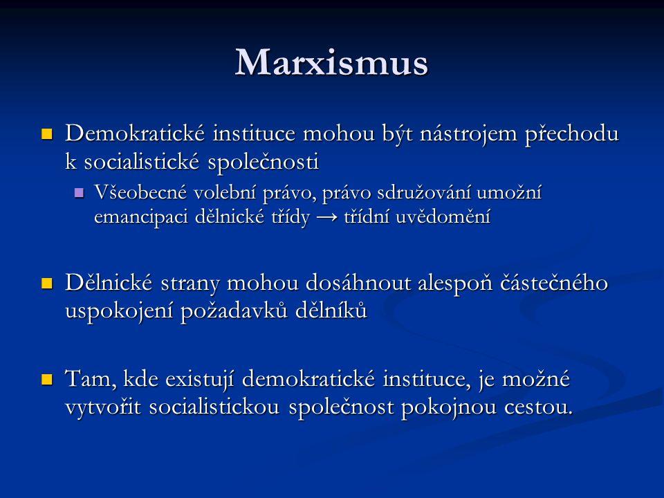 Marxismus Demokratické instituce mohou být nástrojem přechodu k socialistické společnosti Demokratické instituce mohou být nástrojem přechodu k social