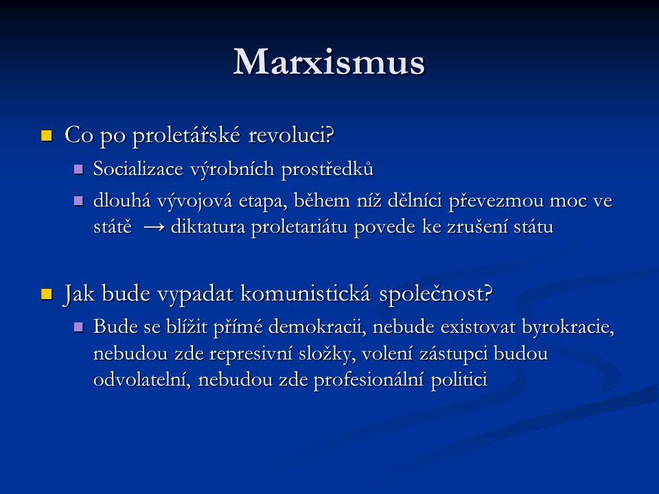 Marxismus Co po proletářské revoluci? Co po proletářské revoluci? Socializace výrobních prostředků Socializace výrobních prostředků dlouhá vývojová et