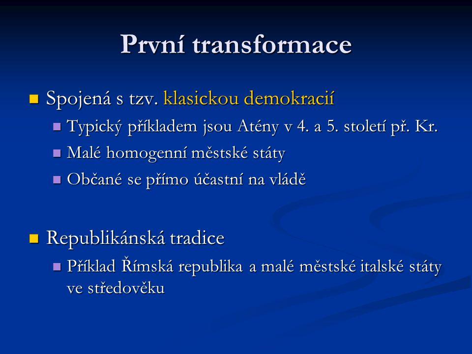 První transformace Spojená s tzv. klasickou demokracií Spojená s tzv. klasickou demokracií Typický příkladem jsou Atény v 4. a 5. století př. Kr. Typi
