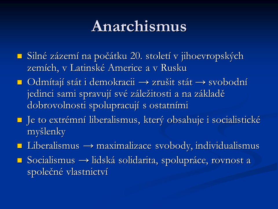 Anarchismus Silné zázemí na počátku 20. století v jihoevropských zemích, v Latinské Americe a v Rusku Silné zázemí na počátku 20. století v jihoevrops