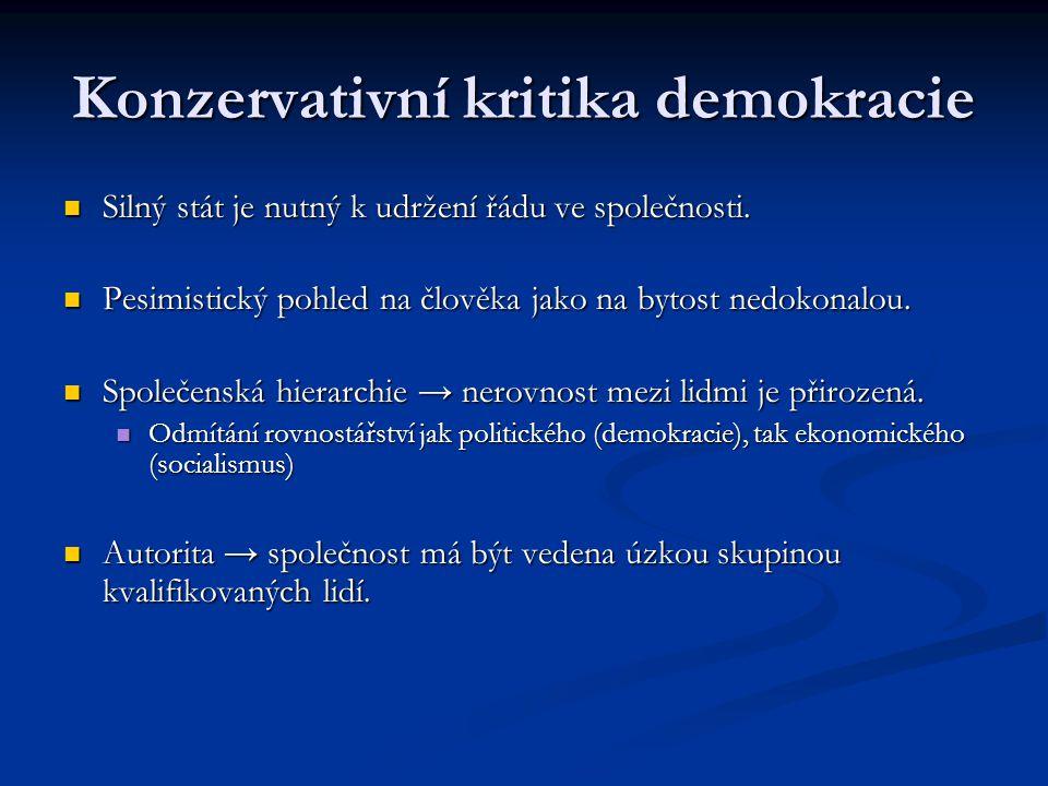 Konzervativní kritika demokracie Silný stát je nutný k udržení řádu ve společnosti. Silný stát je nutný k udržení řádu ve společnosti. Pesimistický po