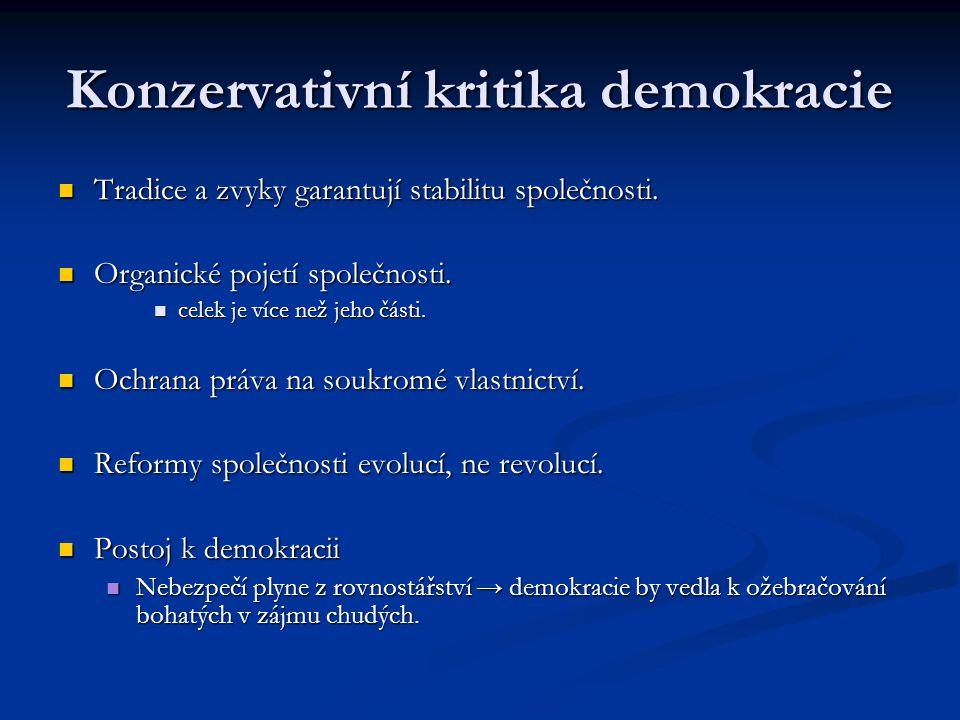 Konzervativní kritika demokracie Tradice a zvyky garantují stabilitu společnosti. Tradice a zvyky garantují stabilitu společnosti. Organické pojetí sp