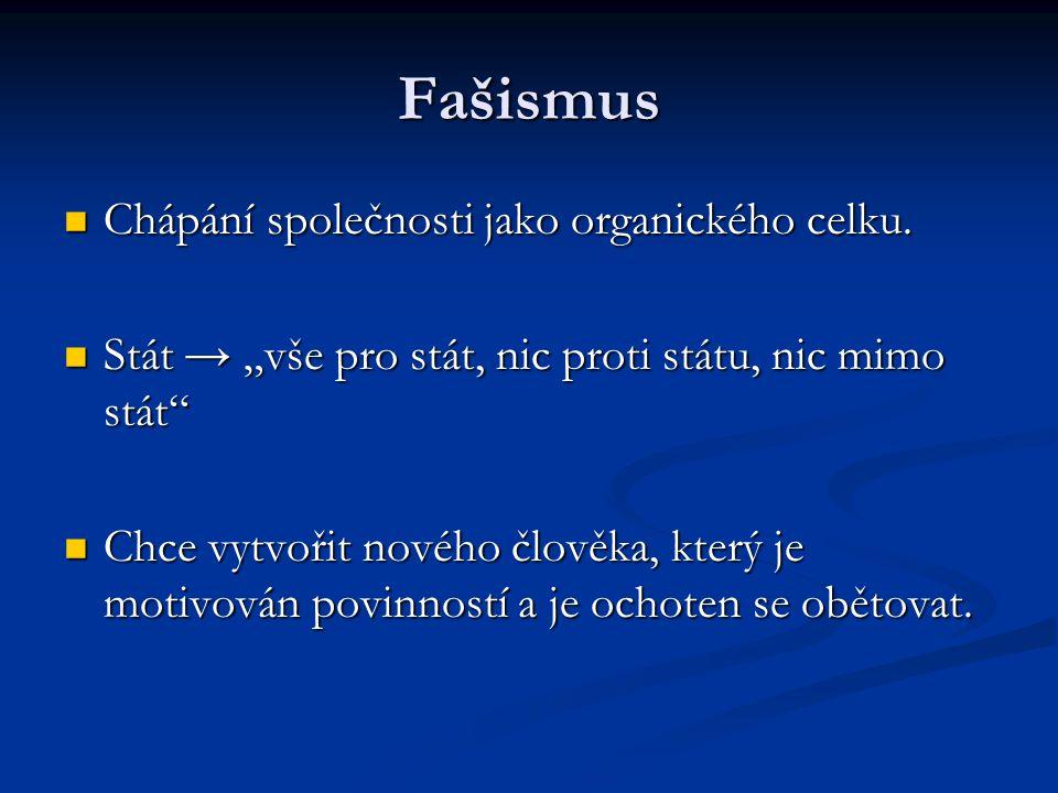"""Fašismus Chápání společnosti jako organického celku. Chápání společnosti jako organického celku. Stát → """"vše pro stát, nic proti státu, nic mimo stát"""""""