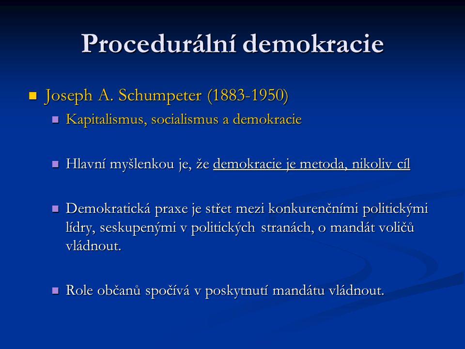 Procedurální demokracie Joseph A. Schumpeter (1883-1950) Joseph A. Schumpeter (1883-1950) Kapitalismus, socialismus a demokracie Kapitalismus, sociali