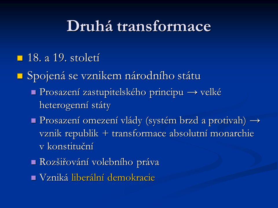 Třetí transformace Přelom 20.a 21. století Přelom 20.