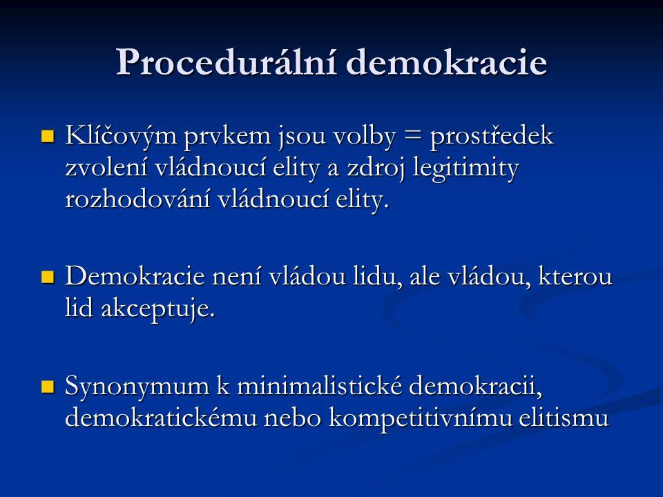 Procedurální demokracie Klíčovým prvkem jsou volby = prostředek zvolení vládnoucí elity a zdroj legitimity rozhodování vládnoucí elity. Klíčovým prvke