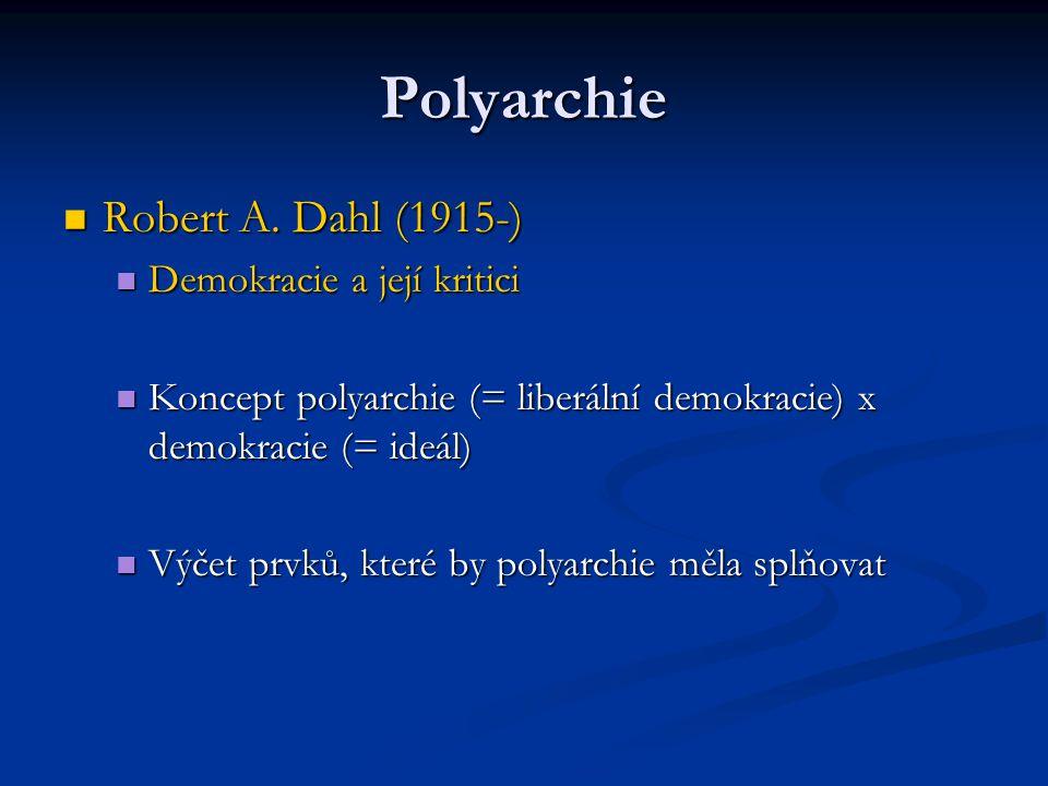 Polyarchie Robert A. Dahl (1915-) Robert A. Dahl (1915-) Demokracie a její kritici Demokracie a její kritici Koncept polyarchie (= liberální demokraci