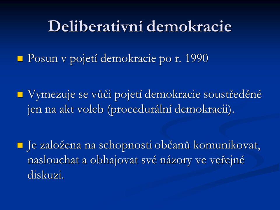 Deliberativní demokracie Posun v pojetí demokracie po r. 1990 Posun v pojetí demokracie po r. 1990 Vymezuje se vůči pojetí demokracie soustředěné jen