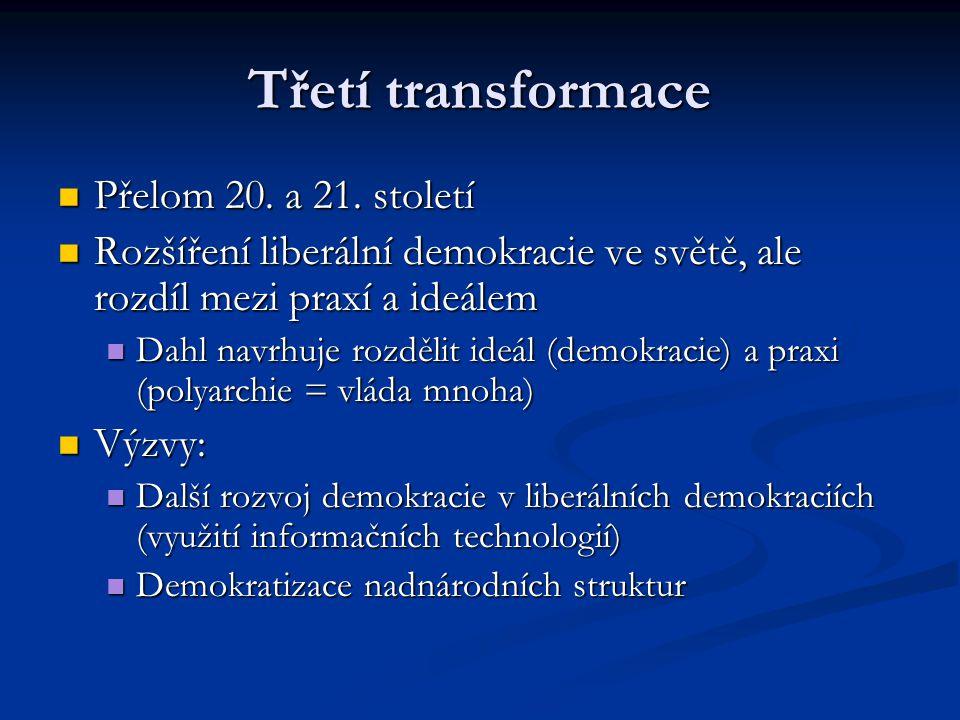 Třetí transformace Přelom 20. a 21. století Přelom 20. a 21. století Rozšíření liberální demokracie ve světě, ale rozdíl mezi praxí a ideálem Rozšířen