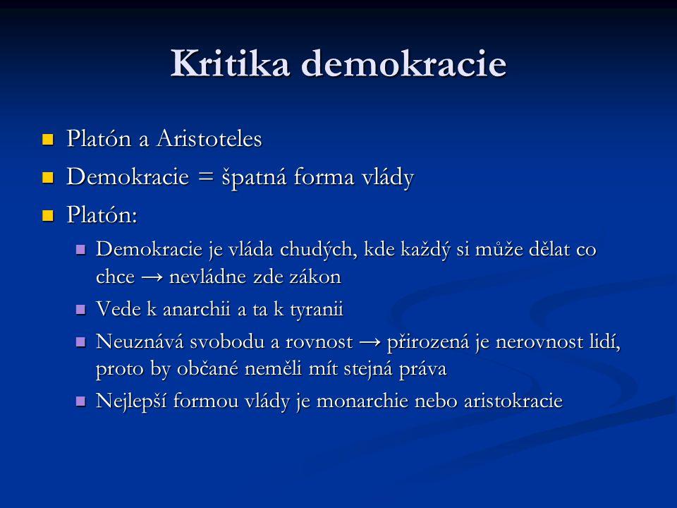 Spojení liberalismu a demokracie Vývojová demokracie Vývojová demokracie John Stuart Mill (1806-1859) a Alexis de Tocqueville (1805-1859) John Stuart Mill (1806-1859) a Alexis de Tocqueville (1805-1859) Odlišuje se od protektivní důrazem na rovnost občanů Odlišuje se od protektivní důrazem na rovnost občanů Spojení svobody občana (i předchozí myslitelé) a politické rovnosti občanů → liberalismus + demokracie Spojení svobody občana (i předchozí myslitelé) a politické rovnosti občanů → liberalismus + demokracie