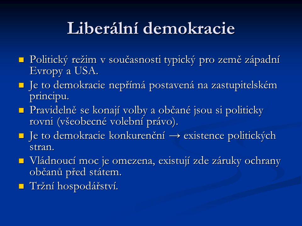 Liberální demokracie Politický režim v současnosti typický pro země západní Evropy a USA. Politický režim v současnosti typický pro země západní Evrop