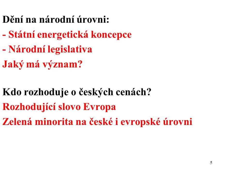 5 Dění na národní úrovni: - Státní energetická koncepce - Národní legislativa Jaký má význam? Kdo rozhoduje o českých cenách? Rozhodující slovo Evropa