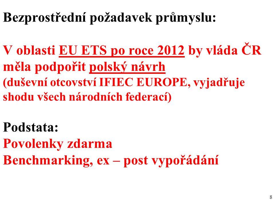 8 Bezprostřední požadavek průmyslu: V oblasti EU ETS po roce 2012 by vláda ČR měla podpořit polský návrh (duševní otcovství IFIEC EUROPE, vyjadřuje shodu všech národních federací) Podstata: Povolenky zdarma Benchmarking, ex – post vypořádání