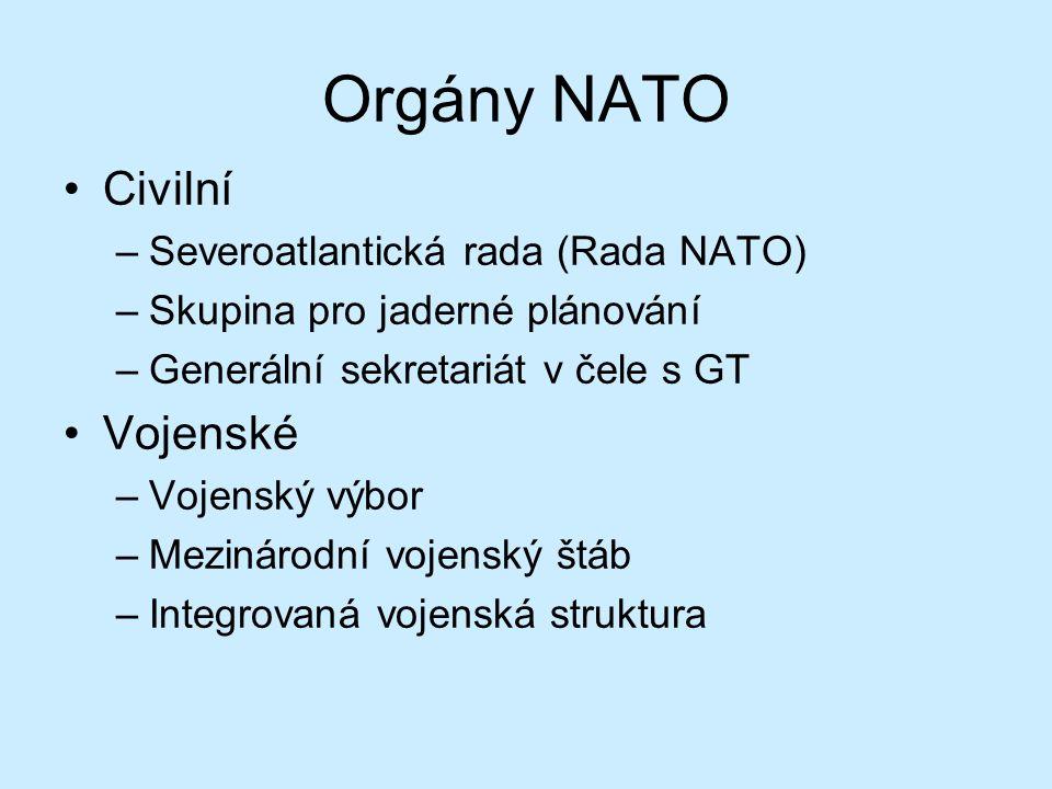 Orgány NATO Civilní –Severoatlantická rada (Rada NATO) –Skupina pro jaderné plánování –Generální sekretariát v čele s GT Vojenské –Vojenský výbor –Mez