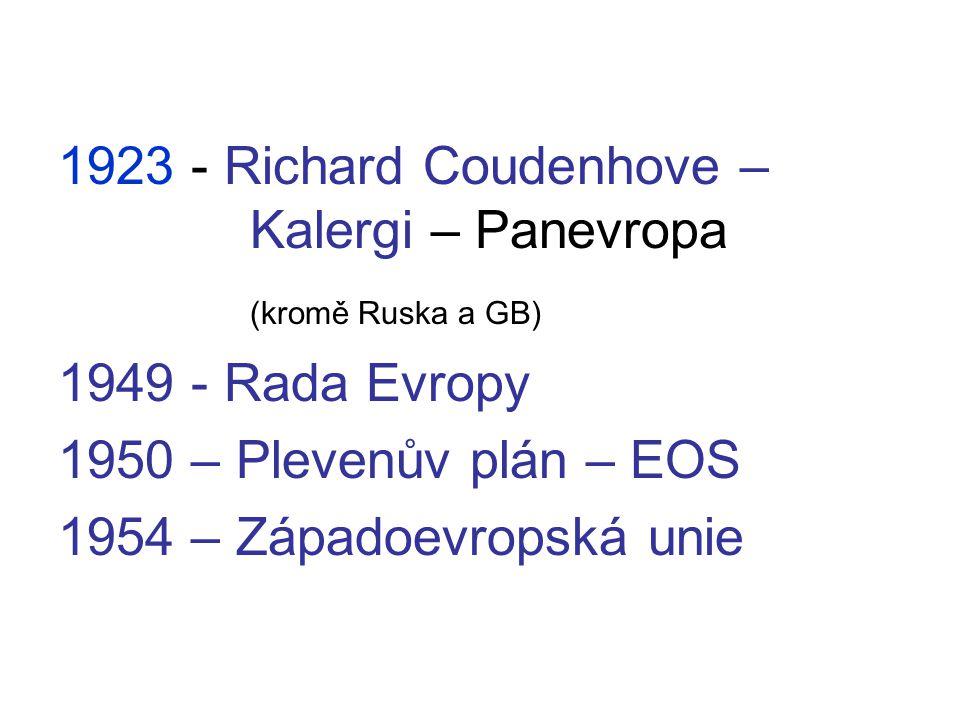 1923 - Richard Coudenhove – Kalergi – Panevropa (kromě Ruska a GB) 1949 - Rada Evropy 1950 – Plevenův plán – EOS 1954 – Západoevropská unie