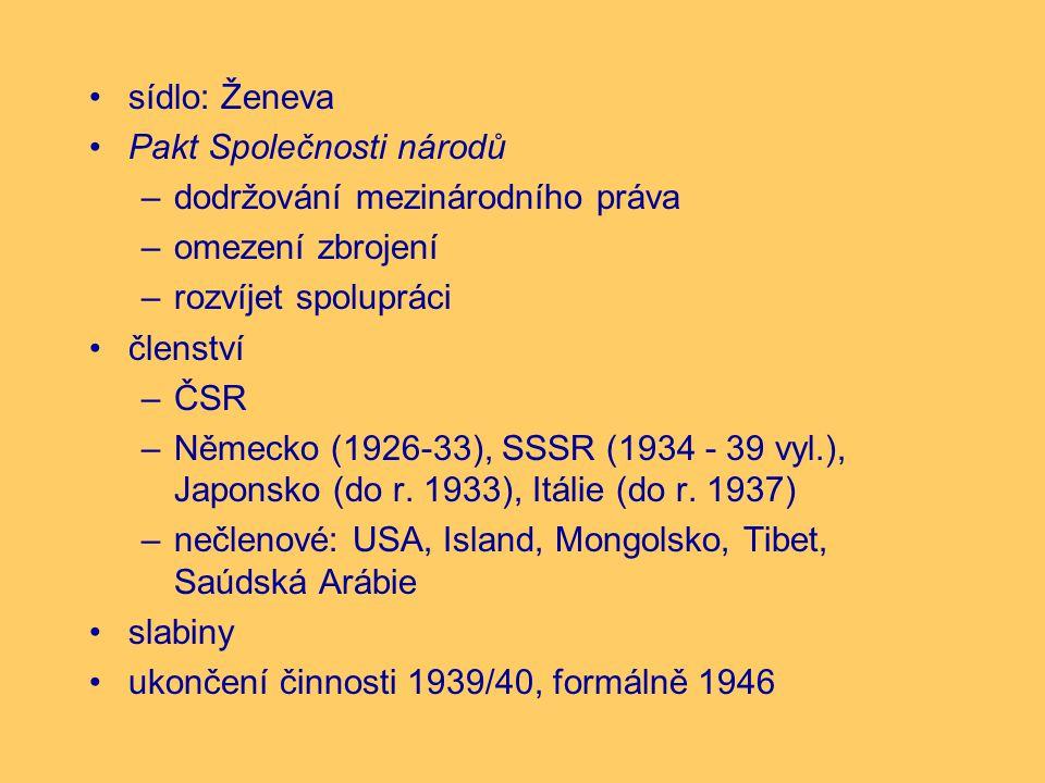 sídlo: Ženeva Pakt Společnosti národů –dodržování mezinárodního práva –omezení zbrojení –rozvíjet spolupráci členství –ČSR –Německo (1926-33), SSSR (1