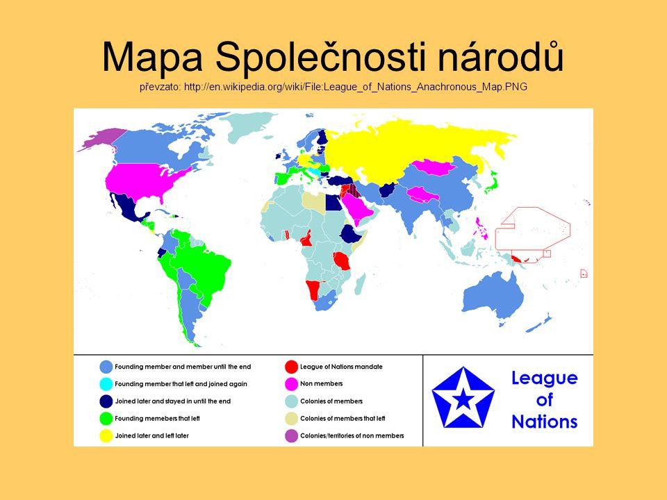 Mapa Společnosti národů převzato: http://en.wikipedia.org/wiki/File:League_of_Nations_Anachronous_Map.PNG
