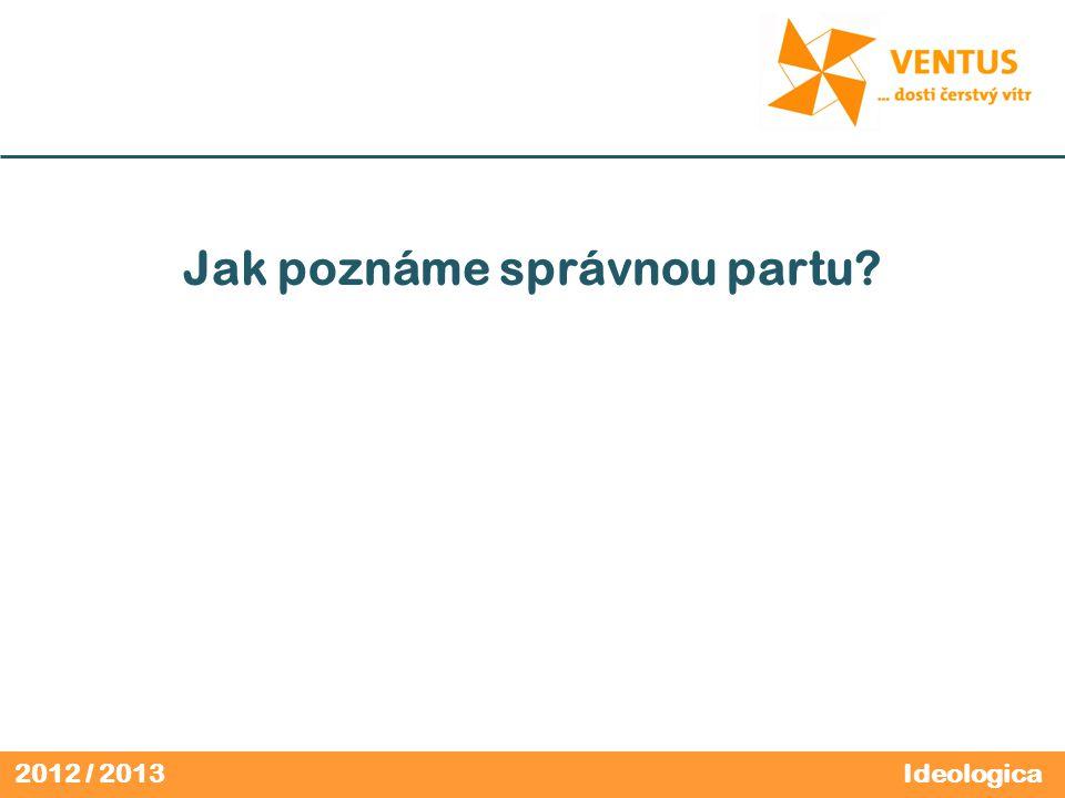 2012 / 2013 Jak poznáme správnou partu? Ideologica