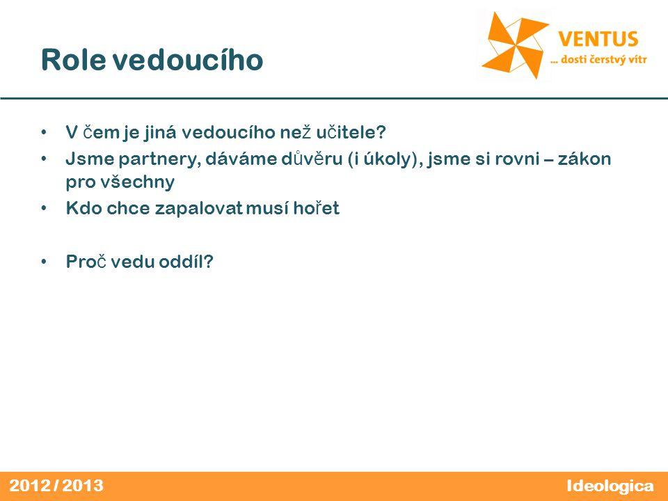 2012 / 2013 Pro č máme zákon a slib? Ideologica